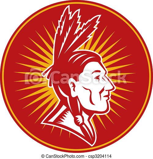 nativo, americano, indiano, capo, Tre, penne, lato, vista - csp3204114