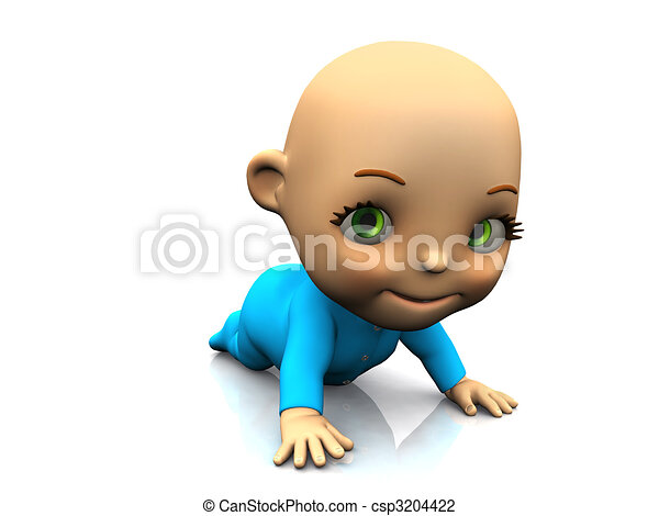 Cute cartoon baby crawling on the floor. - csp3204422
