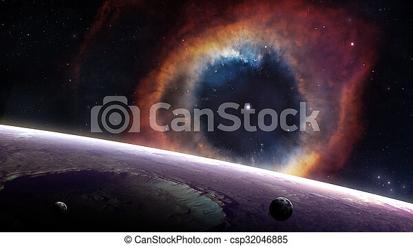 Planet over The Helix Nebula in space. Elements of this image furnished by NASA