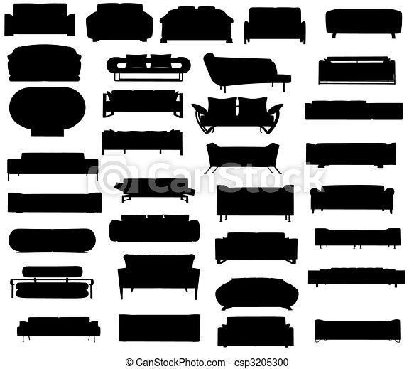 Silhouette of sofas - csp3205300