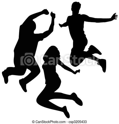 Jump Silhouettes. 3 Friends Jumping. - csp3205433