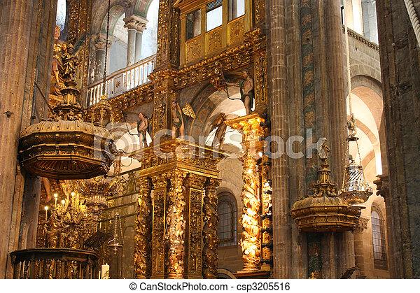 Interior of cathedral santiago de stock image - Interior santiago de compostela ...