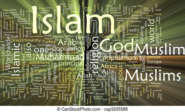 Islam word cloud glowing - csp3205588