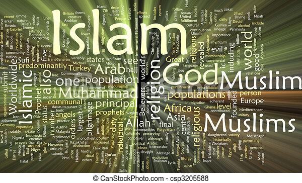 Islam word cloud glowing - csp3205588