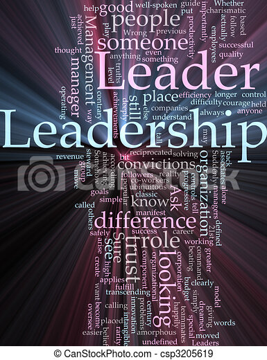 Leadership word cloud glowing - csp3205619