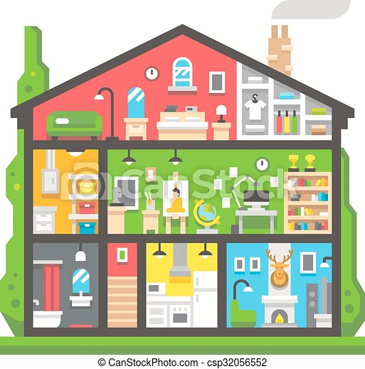 Vecteur Clipart de plat, conception, maison, intérieur, côté, vue ...
