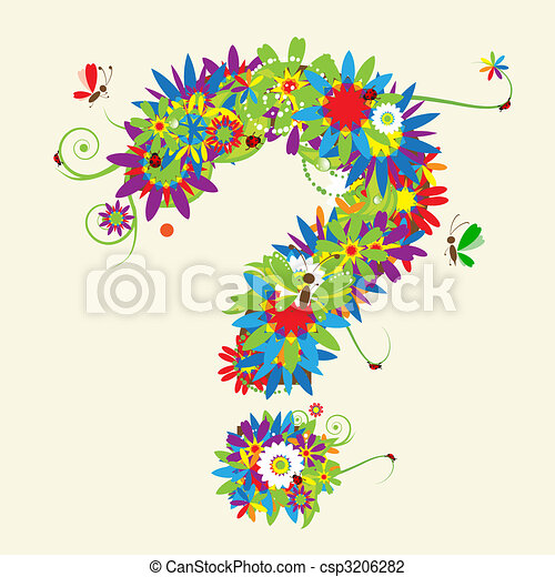 Question mark. Floral design. See also signs in my gallery - csp3206282