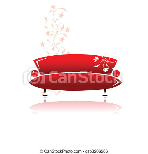 Red sofa design - csp3206286