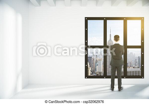 Bilder von geschäftsmann, in, weißes, leerer, dachgeschoss, Zimmer ...