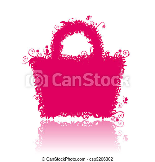 Floral shopping bag silhouette. See also floral style images in my gallery - csp3206302