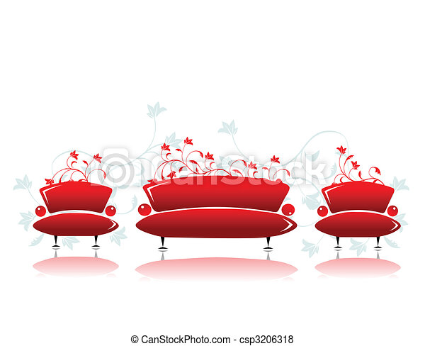 Sofa and armchair red design - csp3206318