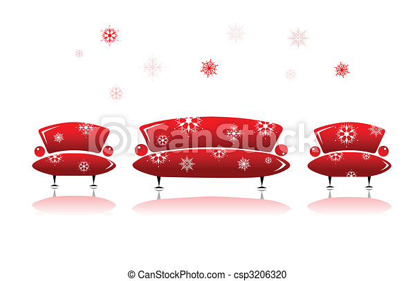 Sofa and armchair, christmas design - csp3206320