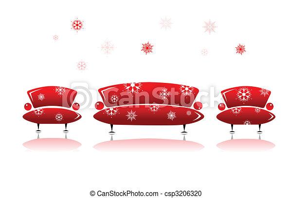 Sofa and armchair, christmas design - csp3206320