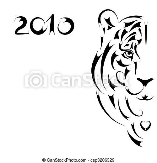 Tiger stylized silhouette, symbol 2010 year - csp3206329
