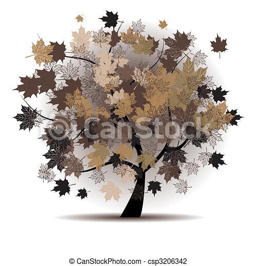 Maple tree, autumn leaf fall - csp3206342