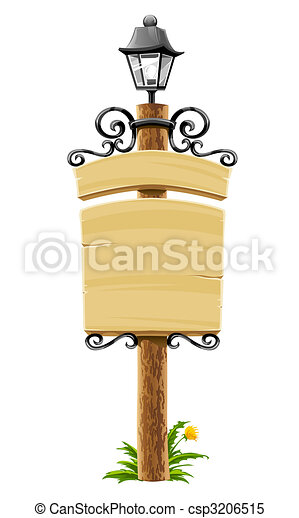 wooden post with signboard, lantern and forged decoration - csp3206515
