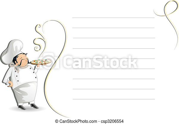Chef with note pad, menu - csp3206554