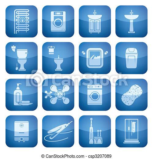 Cobalt Square 2D Icons Set: Bathroom - csp3207089