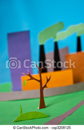 photo of a paper illustration of pollution and factory atmospheric emission - csp3208125