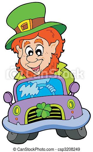 Cartoon leprechaun driving car - csp3208249