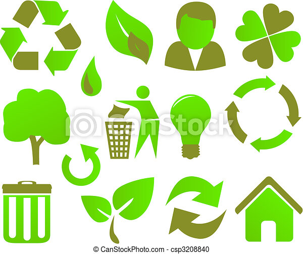 eco icon set green - csp3208840