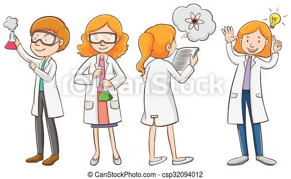 Clip art vecteur de m le femme scientifiques male et femme scientifiques csp32094012 - Coloriage petit scientifique ...