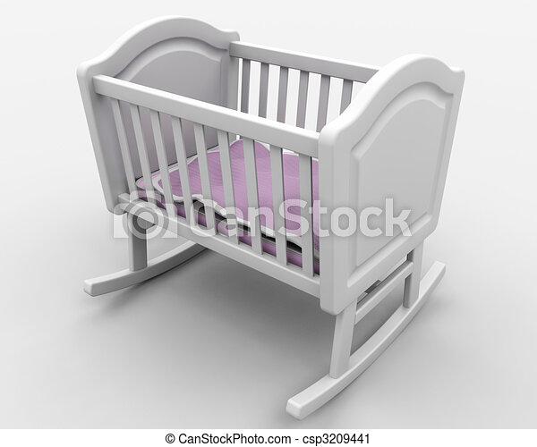 Rocking Baby Crib on Clipart Of Babys Crib   Rocking Crib For New Born Baby Girl Csp3209441