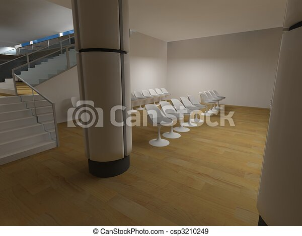Hospital waiting room, conceptual architecture, clean space.