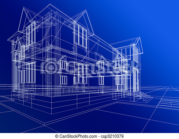 wire-frame of cottage - csp3210379