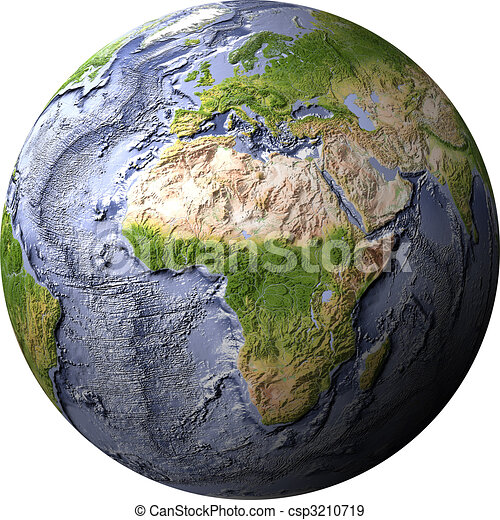 Globe, shaded relief with ocean floor - csp3210719