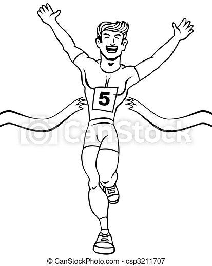 Runner Reaches Finish Line Art - csp3211707