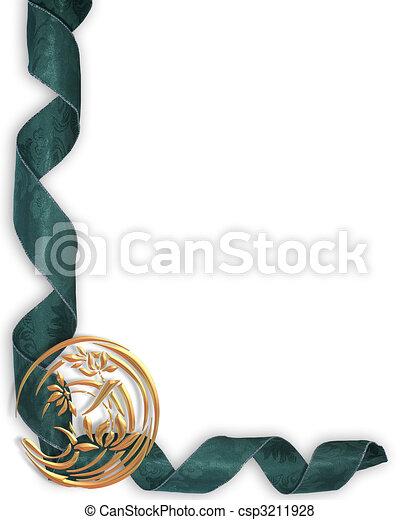 Blue ribbon border - csp3211928