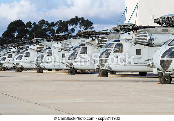 Military Helicopter line-up - csp3211932