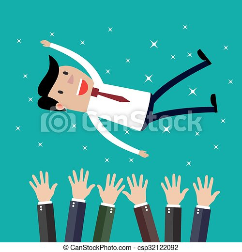 Businessman get thrown into the air by coworkers  - csp32122092