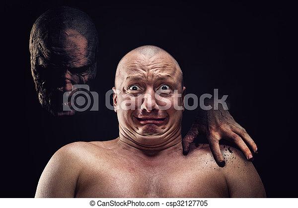 Portrait of bald scared man - csp32127705