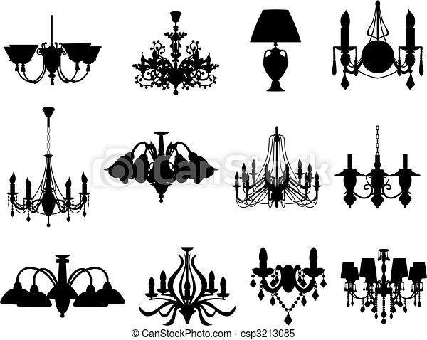set of lamps silhouettes - csp3213085