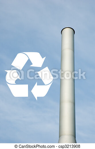 Recycle sign with chimney - csp3213908