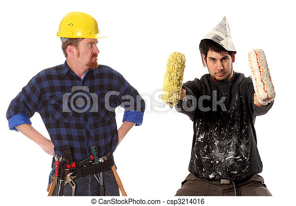 angry chief and house painter  - csp3214016