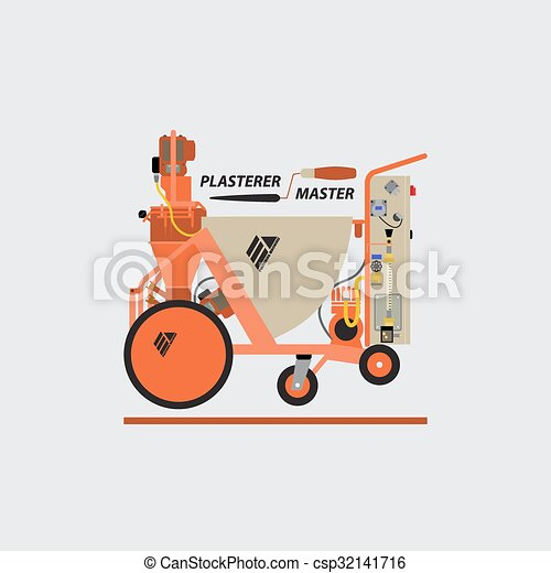 vektor clip art von verputzen maschinen vektor logo. Black Bedroom Furniture Sets. Home Design Ideas