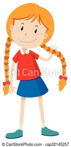Clipart Vector of Little girl with long hair illustration ...