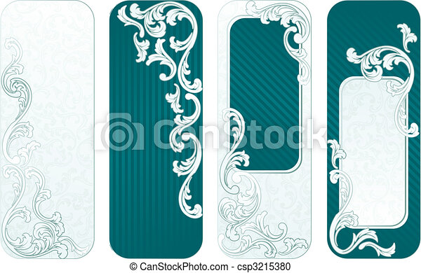 French retro vertical banners in green - csp3215380
