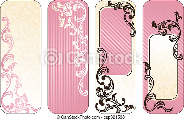 Romantic French vertical banners in pink - csp3215381