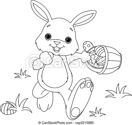 Easter Bunny Hiding Eggs coloring page - csp3215885