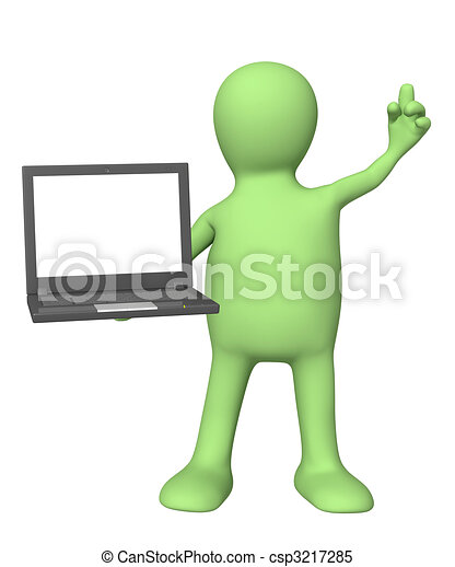 3d puppet with laptop in hand - csp3217285