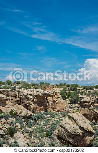 Ruins and Canyon at Hovenweep - csp32173202