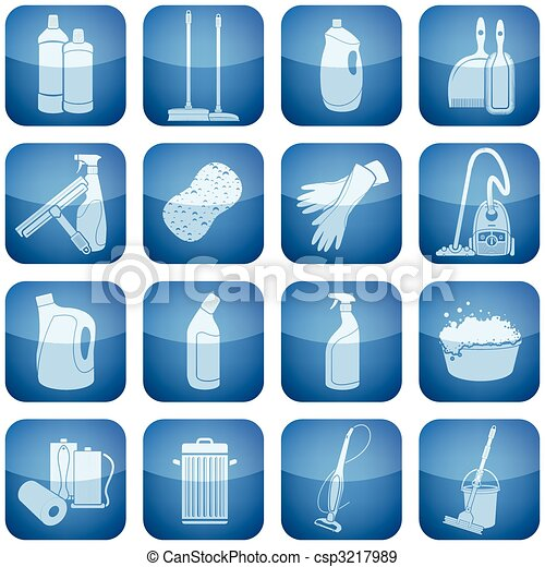 Cobalt Square 2D Icons Set: Cleaning - csp3217989