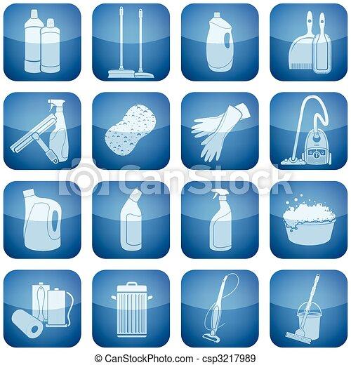Cobalt Square 2D Icons Set: Cleaning - csp3217989