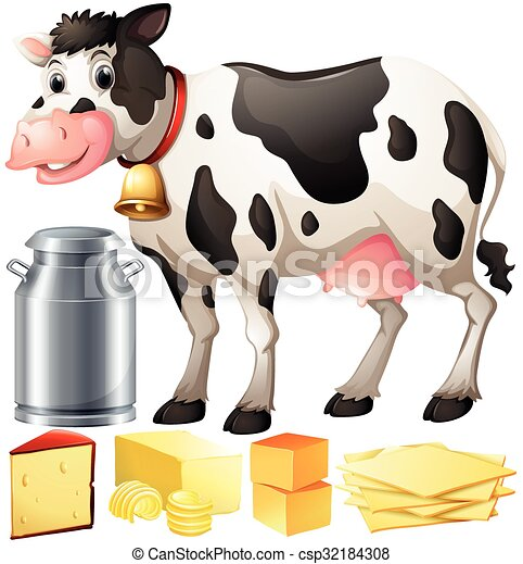 Vector Clipart of Cow and dairy products illustration ...