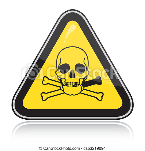A yellow triangular warning sign. Attention toxic, poison. - csp3219894
