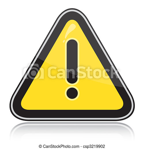 Yellow triangular other dangers warning sign - csp3219902